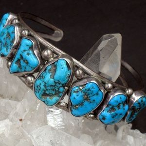 Native American Sterling Turquoise Nugget Bracelet